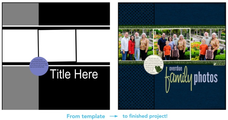 From template to digital scrapbook layout