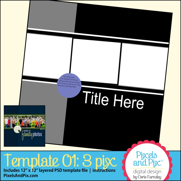 Free digital scrapbooking template from Pixels and Pix Digital Design