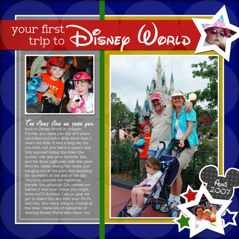 Disney World digital scrapbook layout