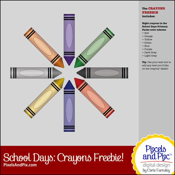 Pixels and Pix Digital Design, School Days, Crayons Freebie