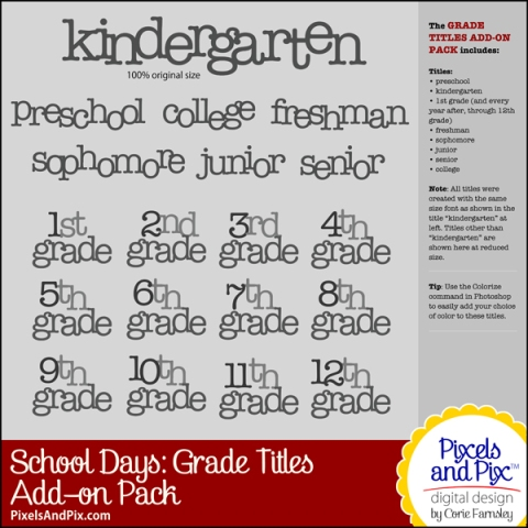 School Days Grade Titles Add-on Pack, Pixels and PIx Digital Design by Corie Farnsley