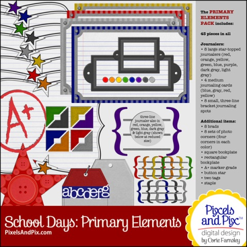 School Days Primary Elements Pack, Pixels and Pix Digital Design