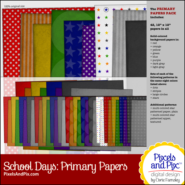 School Days Primary Papers Pack, Pixels and Pix Digital Design by Corie Farnsley