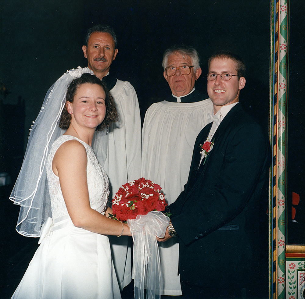 Father John and Pastor Mike Thornburg, our wedding